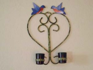 Kissing Birds Candle Sconce